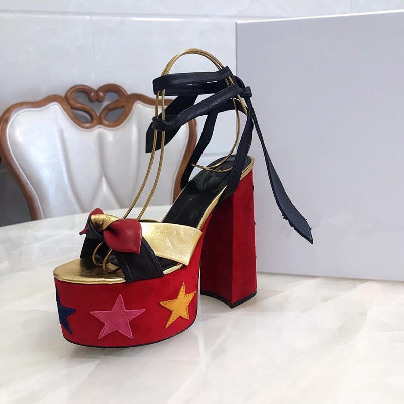 Classique Sandales femme d'été 2020 Chaussures Peep Toe sandales boucle en métal en cuir sexy Y chaussures pour femmes à talons hauts-de 14cm
