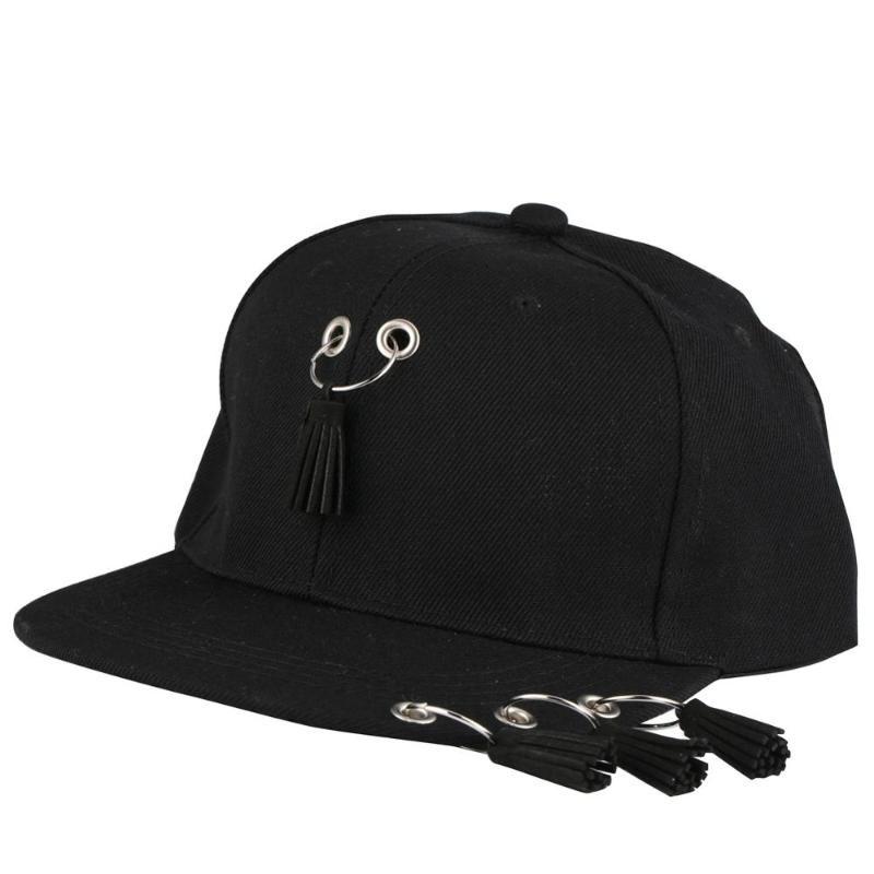Men Snapback Baseball Caps Women Punk Ring Tassels Hip Hop Hat Kids K Basketball Caps Dad Summer Fitted Short Dance Flat