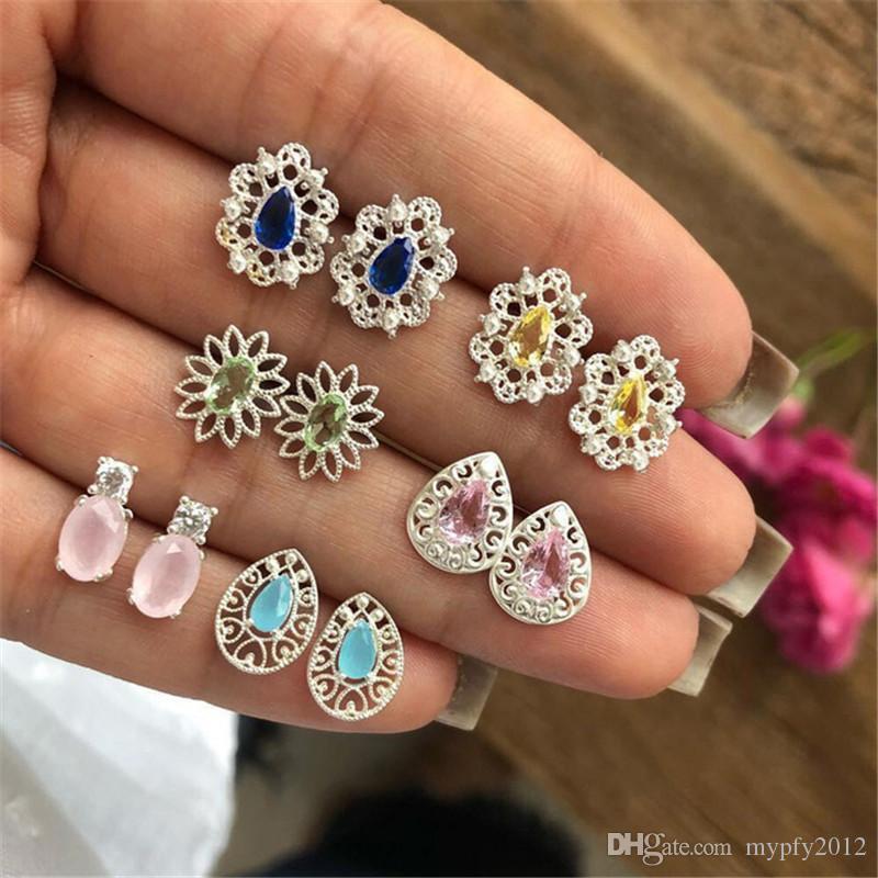 6 paires par Set Bohème Bijoux Vintage Argent creux Fleur Cristal Boucles d'oreilles pierres précieuses pour les femmes Waterdrop Stud Oreille Bijoux