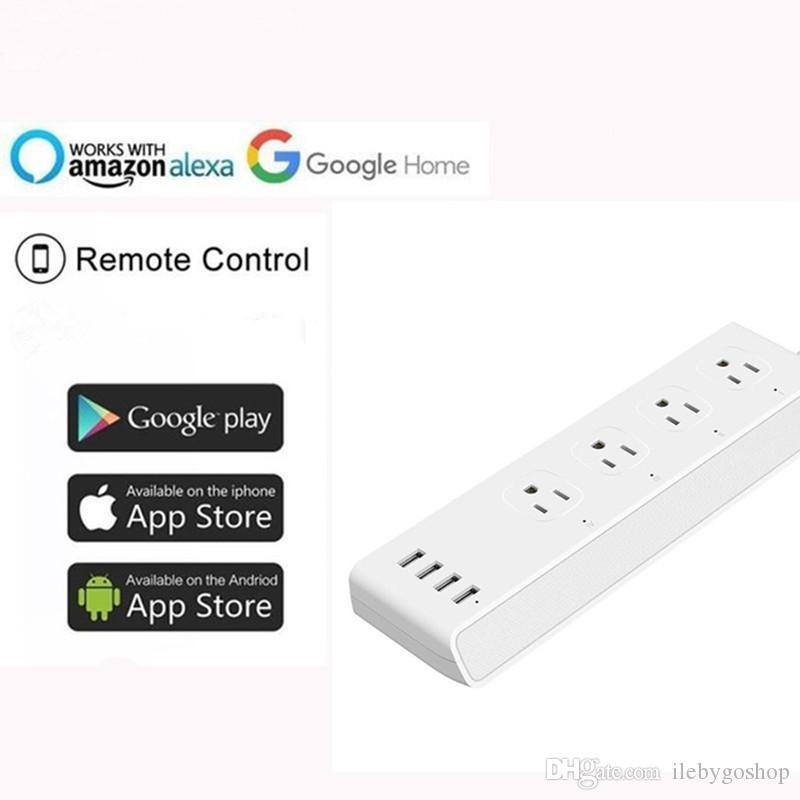 5PCS Wifi Smart Plug يعمل مع Amazon Alexa Google Assistant Wifi Smart Power Strip Charger 10A with 4 Usb Charging Port