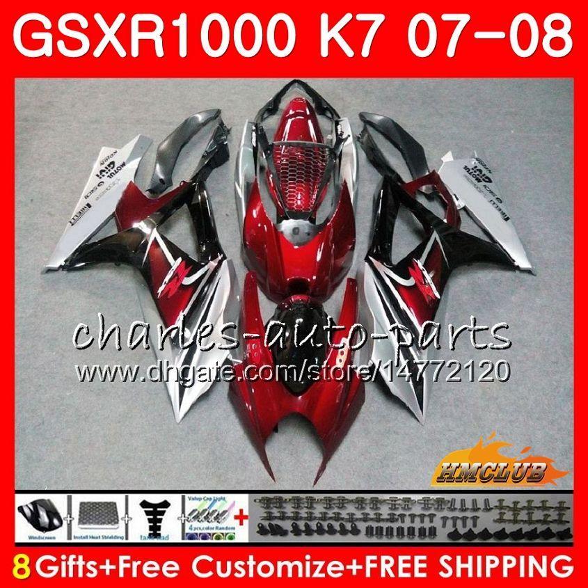 Owalnia dla Suzuki GSXR 1000 GSX-R1000 K7 GSXR-1000 07 08 Nadwozie 12HC.55 GSX R1000 Wino Red Stock GSXR1000 07 08 2007 2008 Zestaw do ciała