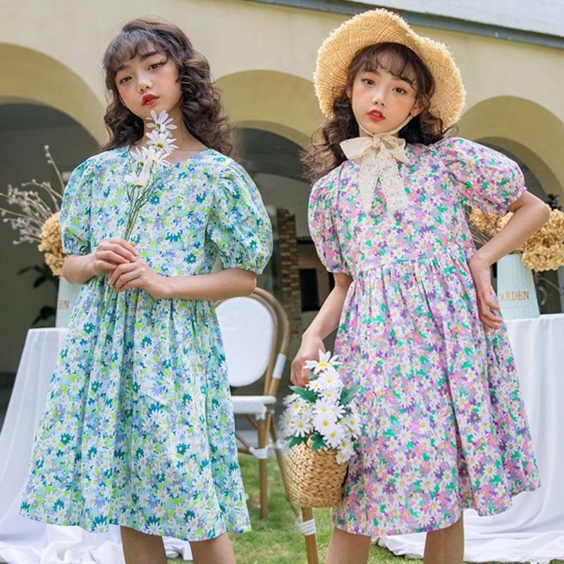 Carino Puff Sleeve Big ragazze di partito Retro vestito da estate dei bambini floreali abbigliamento per bambini principessa del vestito dai vestiti del bambino del cotone Ragazze