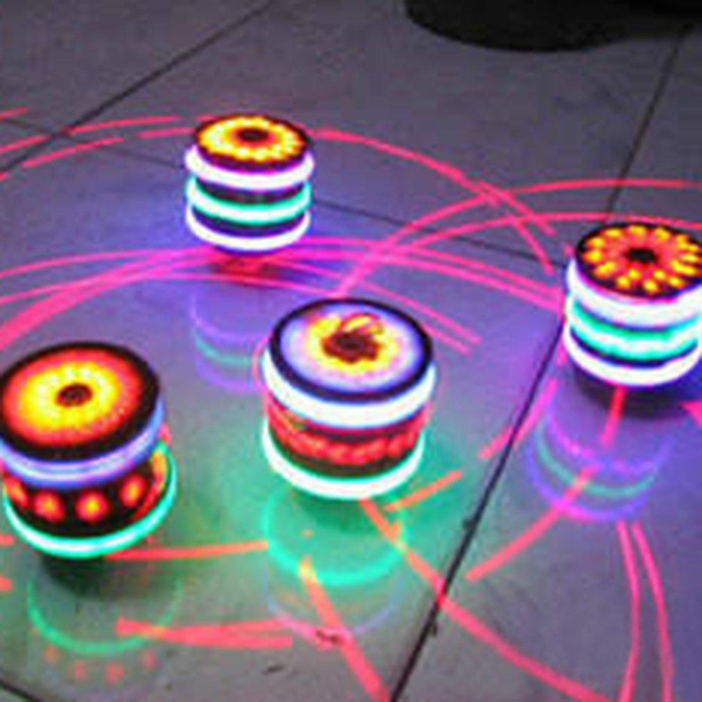 Kids Wooden Seven LED Lights Laser Spinner Top Fidget Peg Toy Hand Spinner Flashing Light Up Spinning Desktop Toys For Children