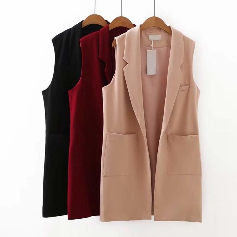 S52 Осень Повседневная Жилеты 5XL Плюс Размер Женская одежда Мода без рукавов Открытый шов Длинные куртки V203 LY191210