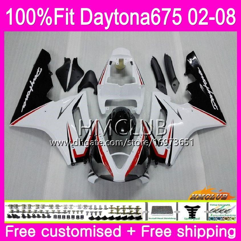 Injection Body For Triumph Daytona 675 02 03 04 05 06 07 08 43HM.12 Daytona675 2002 2003 2004 2005 2006 2007 2008 OEM Fairing White Black