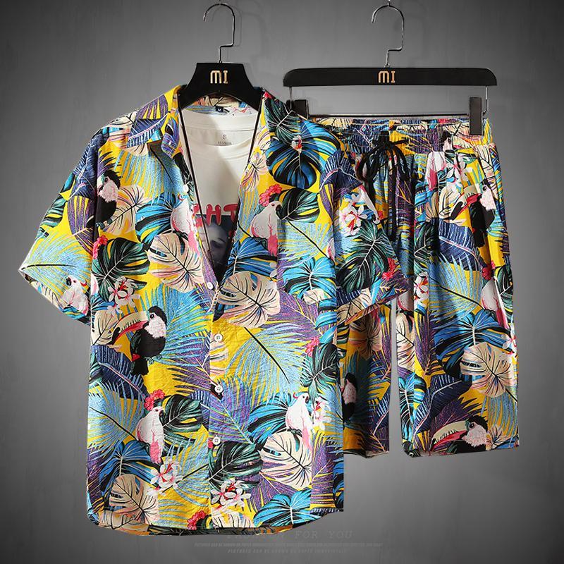 Mens Set Short Sleeve Hawaiian Shirt And Shorts Summer Casual Floral Shirt Beach Two Piece Suit 2020 New Fashion Men Sets S-5XL CX200609