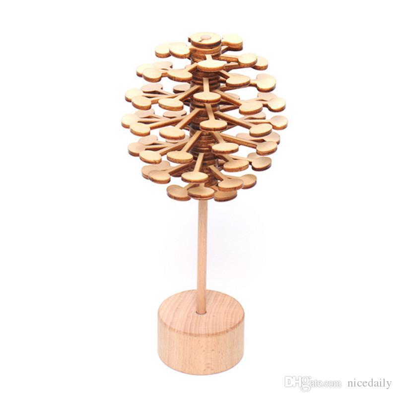 Helicone in legno Magic Wand Stress Silver Toy Rotating Lollipop Decorazione arte creativa per casa Desktop Desktop regalo all'ingrosso