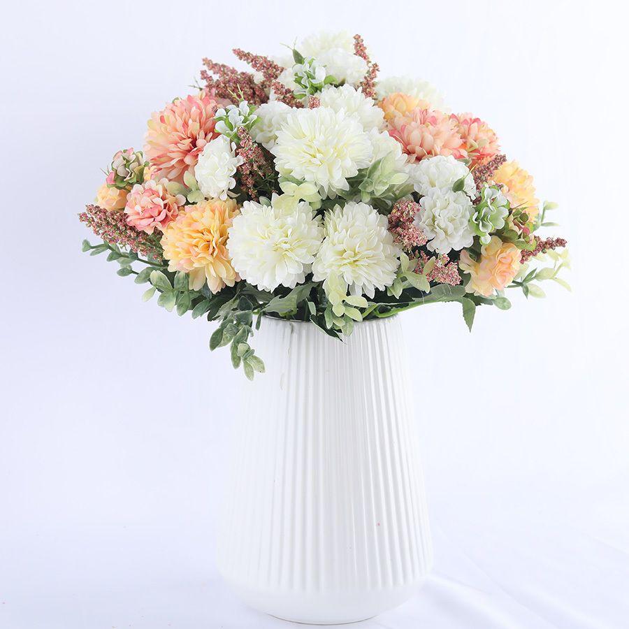 fleur de soie hortensia boule blanche pissenlit fleurs artificielles anniversaire maison accories décoration de mariage bouquet fleurs faux