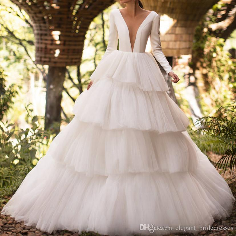 2019 Sexy Wedding Dresses robes de mariee Sheer V Shape Illusion Neckline Long Sleeve Wedding Dress with Tiers Skirts Plus Size Bridal Gowns
