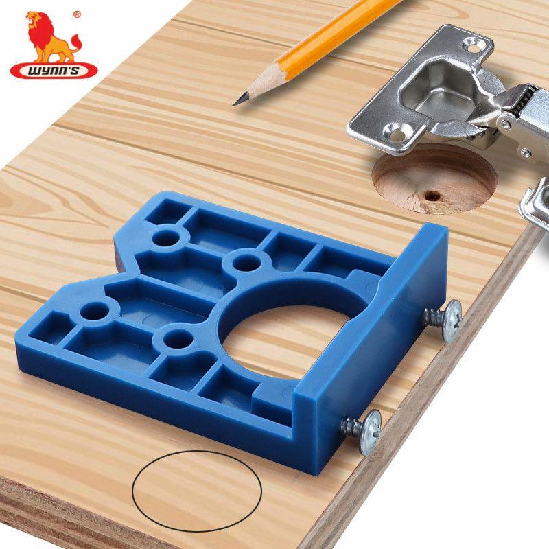 rojo- inoxidable Herramienta de plantilla para taladrar agujeros en madera ajustable para perforar taladros de madera Herramientas de gu/ía para taladrar perforaciones y manijas de puerta de montaje