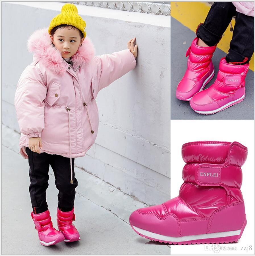 Girls Boots 2019 Winter Fashion Elsa PU Leather Waterproof Cotton Kids Snow Boot