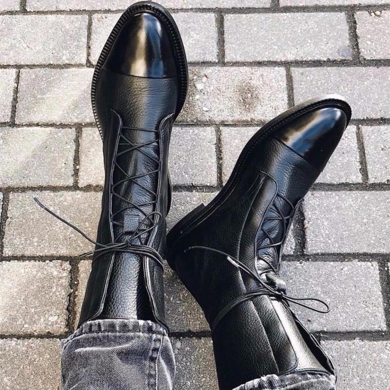 2019 Nueva simple botas y Otoño Invierno Moda populares respirables de cabeza redonda de color sólido salvaje de las mujeres botas cortas