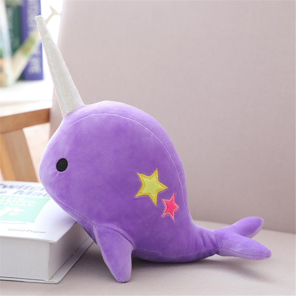 25CM 35CM Narwhal baleia binário boneca estrela de pelúcia brinquedo macio animal do oceano mar recheado brinquedos para presente de Natal das crianças do garoto Brinquedos Y200623