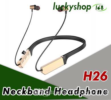 NUEVO H26 Magnético Auricular Bluetooth V4.2 Verdadero Bluetooth Inalámbrico Auricular Banda para el Cuello Auriculares Con Micrófono Estéreo Sonido 60pcs DHL