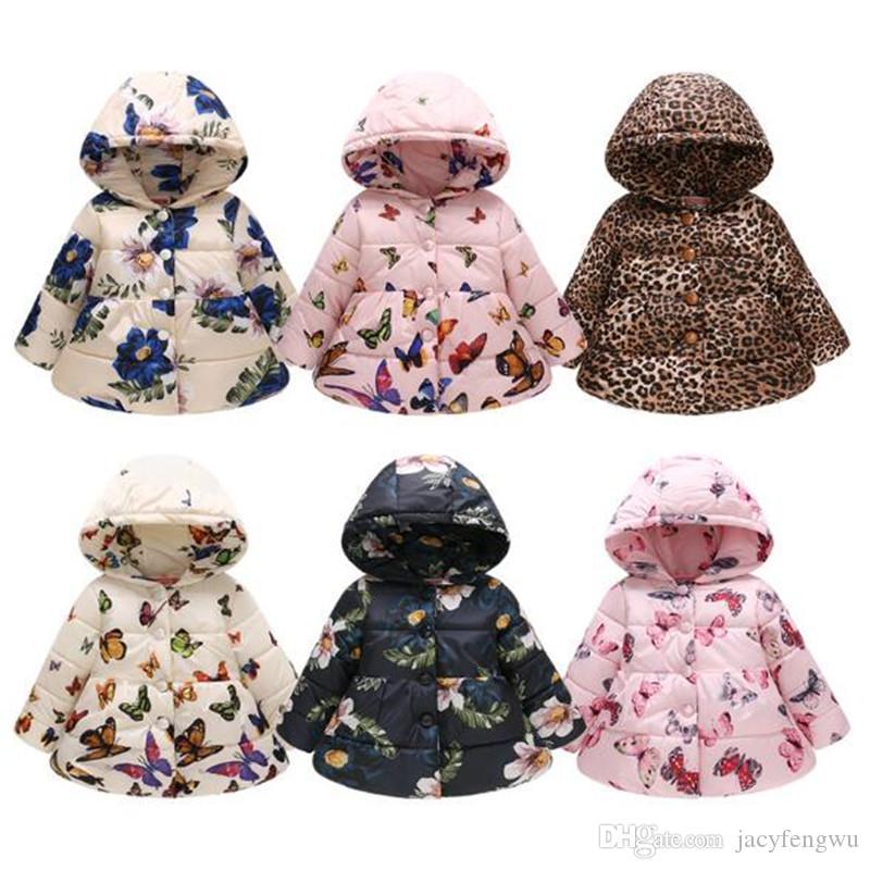 11 Arten Kinder Wintermantel Baby Schneeanzug Mädchen Floral Winter Outwear Outfits Hoodies Kleidung Kinder Designer Baumwolle Gepolsterte Jacke D083