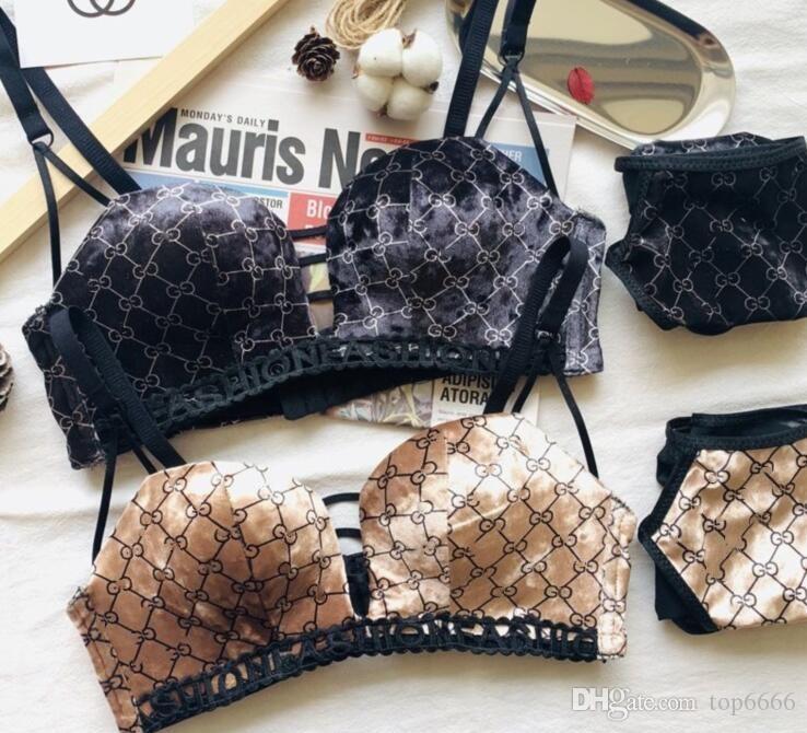 Mulheres Nenhum traço Sexy calcinhas jacquard Bras Define menina marca legal moda carta de impressão em V profundo ouro Reúna listras Sexy elástica Set Underwear