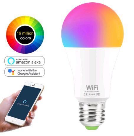 Bulb 15W Smart WiFi Luz RGB White Magic LED LamDimmable E27 B22 WiFi Lâmpadas Compatível com Amazon Alexa Página inicial do Google Smartphone