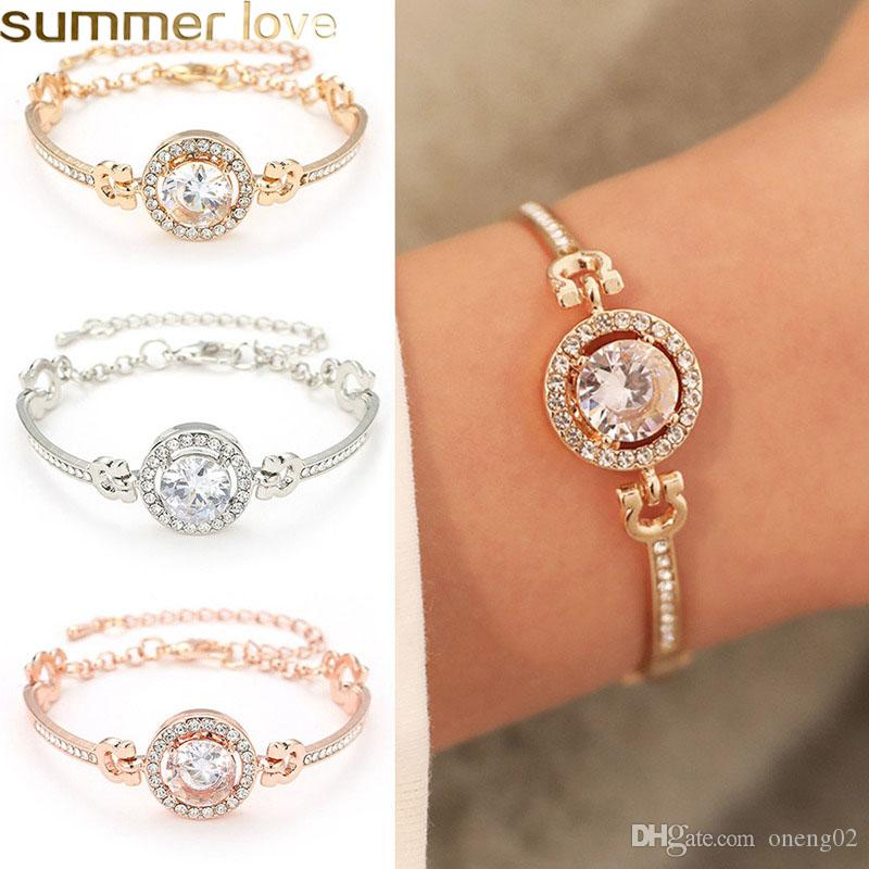 High Quality Cubic Zircon Bracelet For Women Gold Plated Rhinestone Charm Bracelets for Women Girls Gift Jewelry Accessories