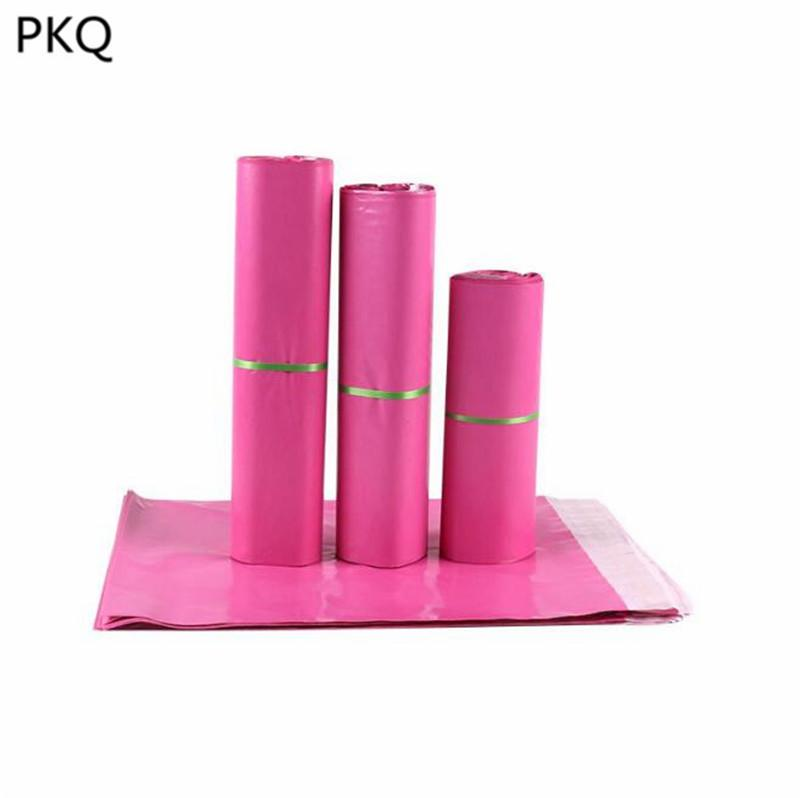 10pcs 12 * 16cm / 15 * 19cm / 17 * 25cm / 20 * 30cm / 25 * 35cm rosa Kunststoff Kuriertasche Wasserdichte Versand Post Beutel für Versand Verpackung