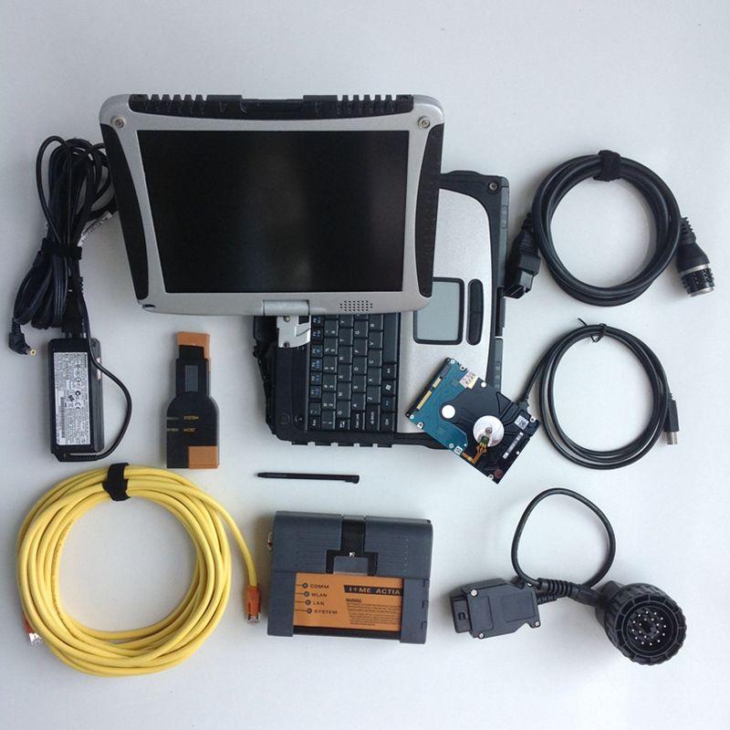 Outil de diagnostic 2019 pour bmw icom a2 b c avec logiciel et ordinateur portable 4g cf19 écran tactile à rotation, ensemble complet, prêt à fonctionner