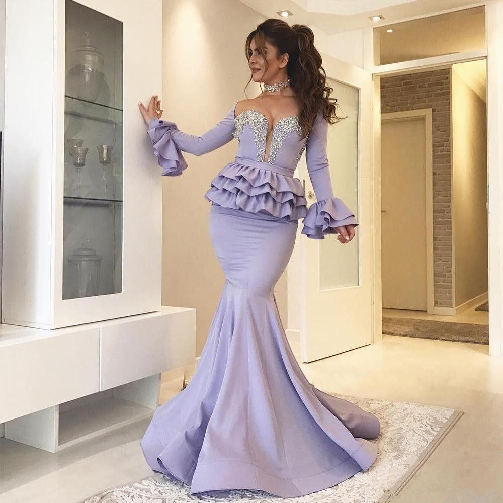 Abiti da sera a sirena maniche lunghe con peplo 2019 lavanda con perline Sweetheart sexy tromba Dubai arabo abiti da ballo formale