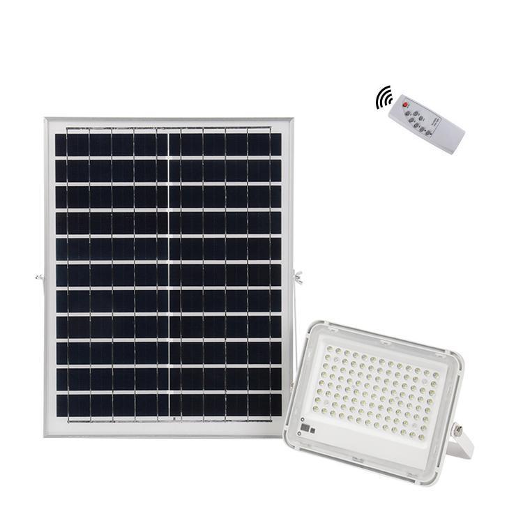 100w de energía solar de la calle luces de inundación, IP67 al aire libre impermeable con la Teledetección de control automático de encendido / apagado para patio, jardín, de la cartelera