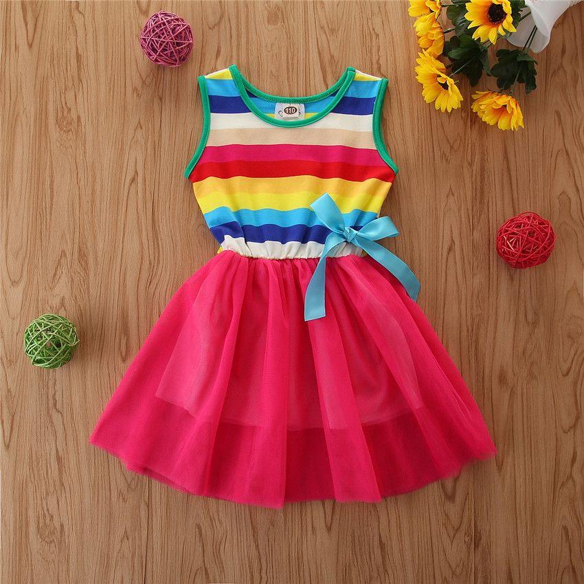 2020 Mädchen Sommer ärmel Schmetterlings-Bogen-Regenbogen-Farben-Streifen-Ineinander greifen-Kleid-Kind-Mädchen-Kleid Kinder Kleidung