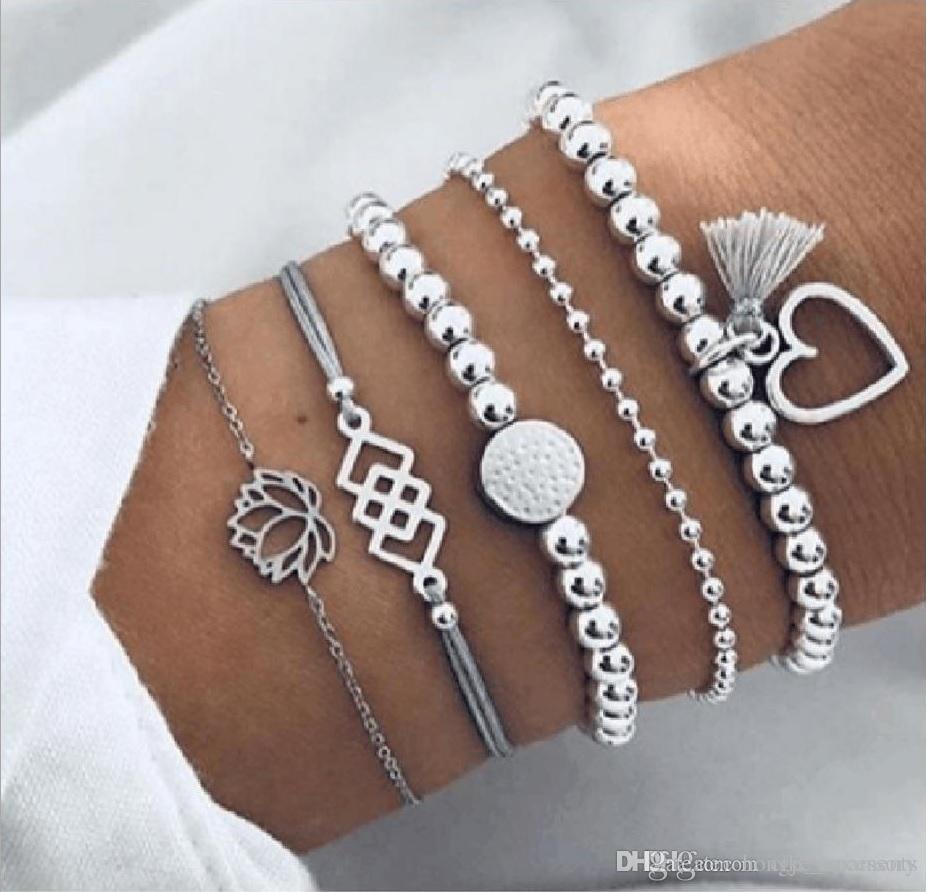 2019 braccialetti monili impostati calzino set 5pcs / set branello catena a sfere Fili nappa loto argento fiore fascino placcato
