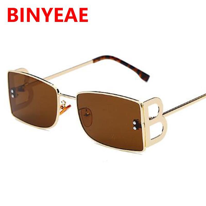 Trendy Yeni B UV400 Gözlük Güneş Gözlüğü Kahverengi Erkek Renk Shades Vintgae Dikdörtgen 2020 Mektup Güneş Kadınlar Punk Designer Dohob