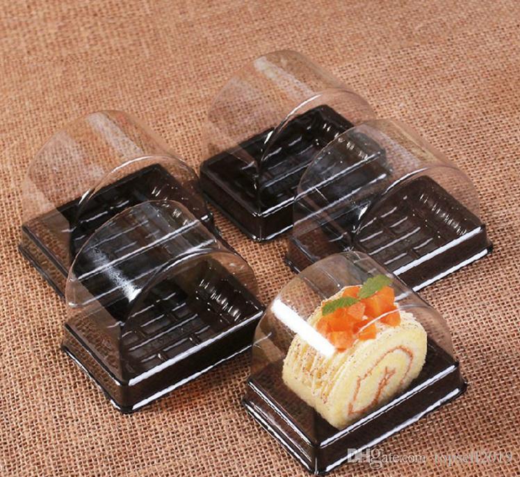 Transparente PP Caja De Pastel De Plástico Solo Pastel Rollo Cajas Inferiores Suizo Cajas de Envasado de Alimentos SN2209
