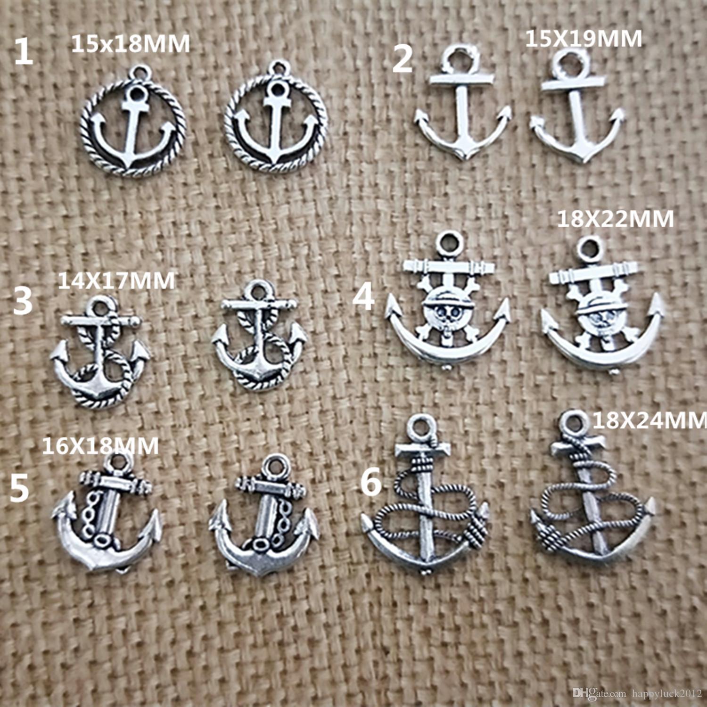 Schedel Anchor Antiek Zilver 14 Stijl Ketting Hanger Vintage Oorbel / Armband Charme Sieraden Accessoires 80pcs / lot