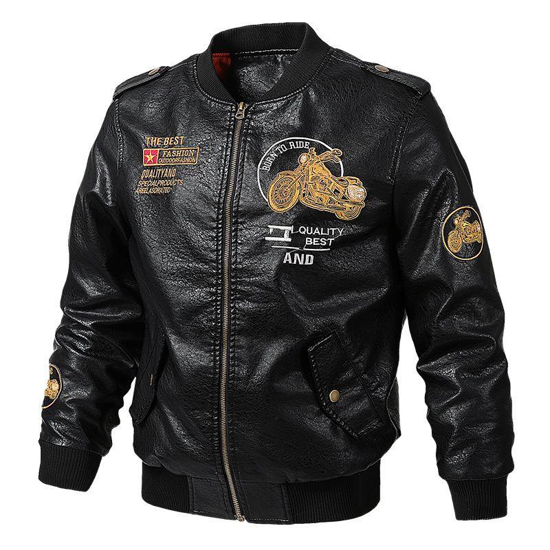 가을 남성 가죽 자켓 인쇄 자수 긴 소매 반바지 캐주얼 패션 멋진 기관차 야구 재킷