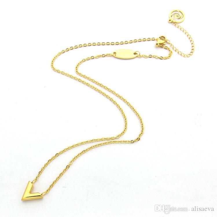 Collier en acier inoxydable de haute qualité rose d'argent en or en forme de V collier pendentif en or 18 carats Collier Femme