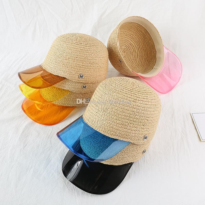 Gorra de béisbol de paja para mujer letra M Transparente de PVC Patchwork Tapas de paja transpirables 2019 verano Visor Hat Anti-UV sombreros 6 colores C6804