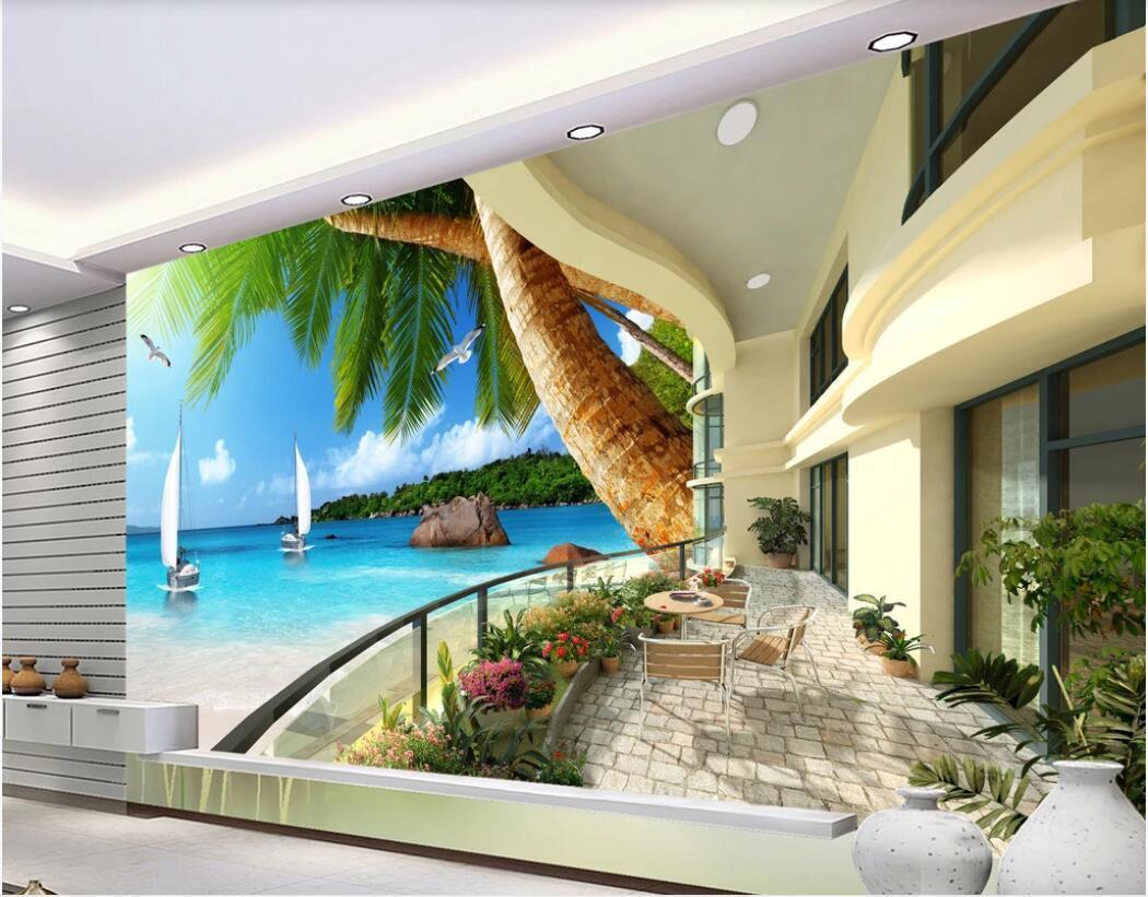 3d fondos de escritorio sala de encargo mural fotográfico moderno centro vacacional hawaiano balcón de la playa de coco televisión de fondo del papel pintado de muros de 3 d