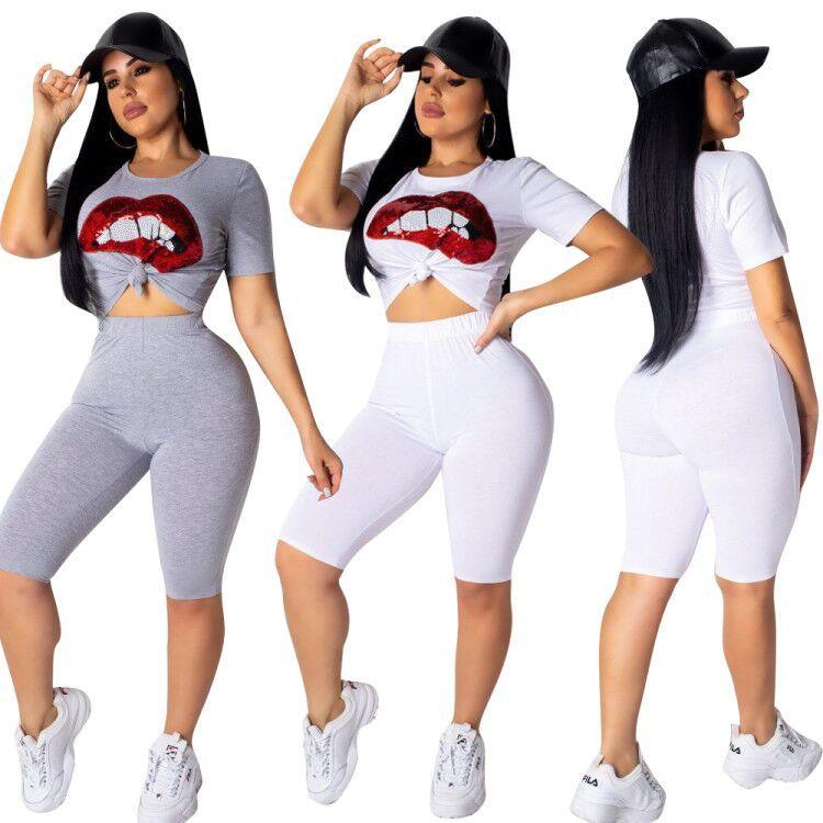 New 2 Color Lips Print 2 Piece Set Short Sleeve O Neck Short T-Shirt And Casual Elastic Waist Knee Length Pant Women Set S3513