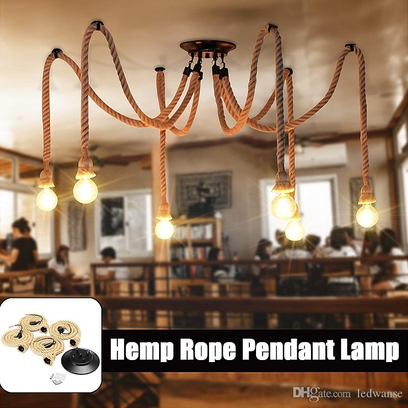Corde de chanvre LED Chandelier Morrdn Nordic rétro antique ajustable DIY Art Spider Plafonniers pour salle à manger Bar Room