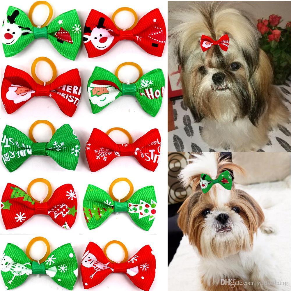 (200 pièces / lot) Ruban mignon Toilettage pour animaux Accessoires main petit chien chat Bows cheveux avec élastique Élastique pour Noël