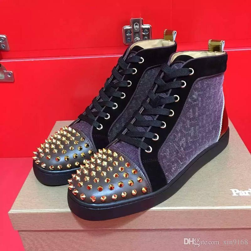 Top Qualité Designer Rouge Bas Sneakers Chaussures Spikes Flats Luxe Rouge Bas Hommes Femmes Party mariage Chaussures Casual