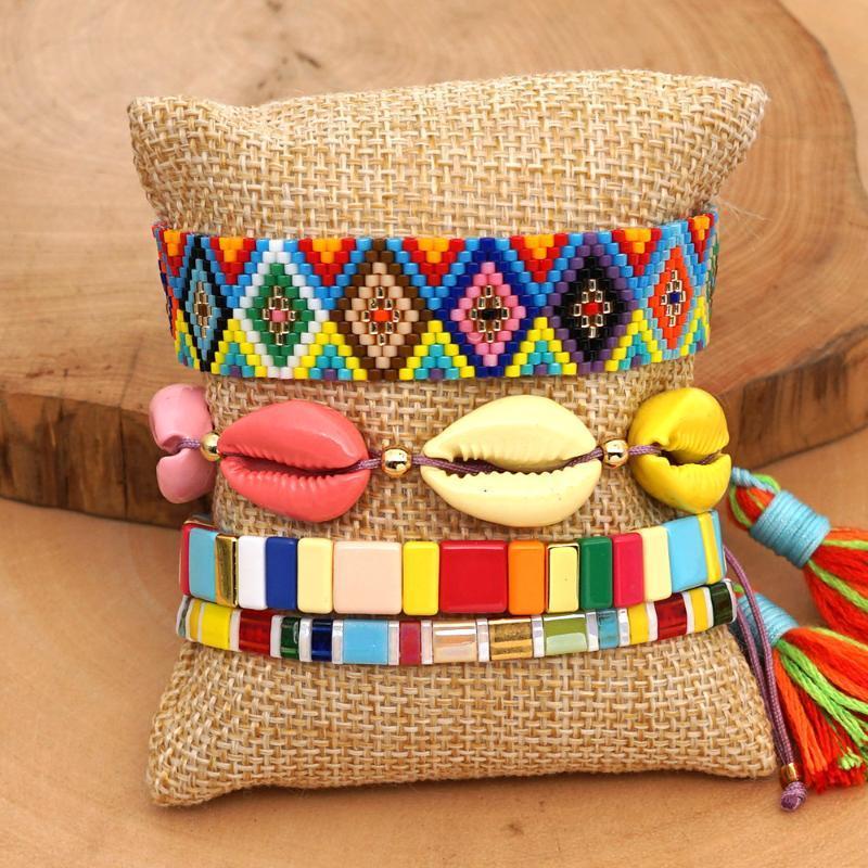 Declaração MIYUKI Beads Arco-íris Shell Pulseiras Set Bohemian Summer Fashion Jóias Insta esmalte telha presentes Pulseira de Punho do amante