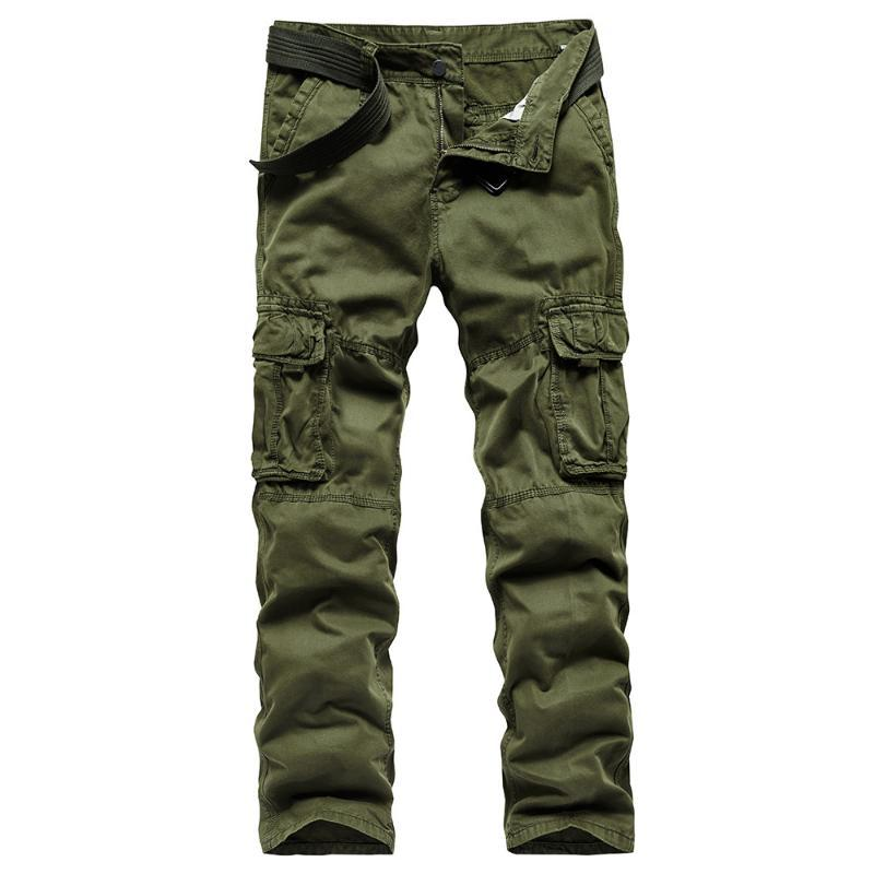2020 Tactical Pants Men Army Cargo Pants Male Plus Size Cotton Trousers Many Pocket Zip Style Mens Cargo Overalls Black