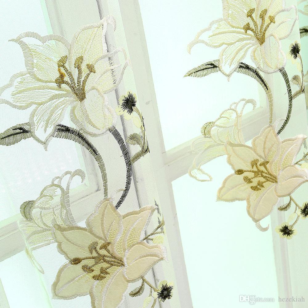 Vorhangstoff Stickerei Chenille-Stickerei Hälfte Verdunklungsvorhänge Vorhänge im europäischen Stil Wohnzimmer Vorhang fertig