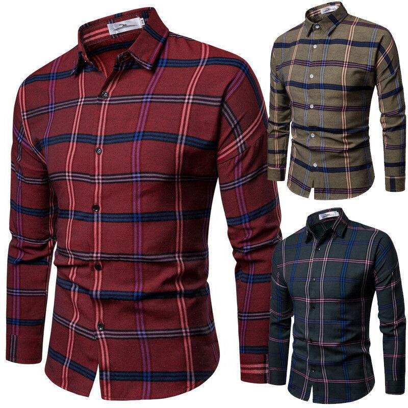 Yeni Moda Erkek Lüks Casual Kontrol Gömlek Uzun Kollu Slim Fit Ekose İş Gömlekler Tops