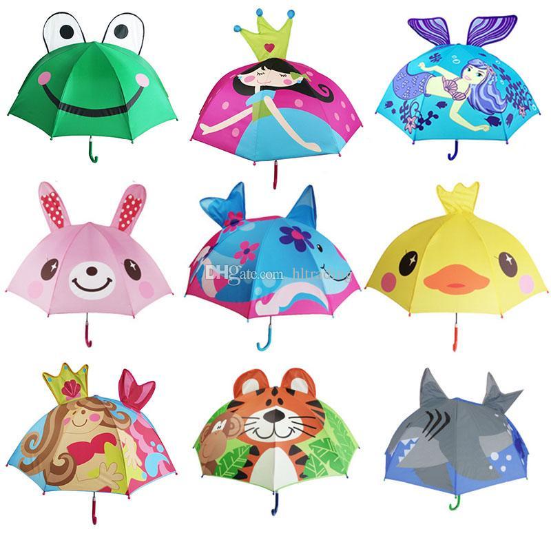13 Stilleri Güzel Karikatür Hayvan Tasarım Şemsiye Çocuklar Çocuklar Için Yüksek Kalite 3D Yaratıcı Şemsiye Bebek Güneş Şemsiye 47 cm * 8k C6128