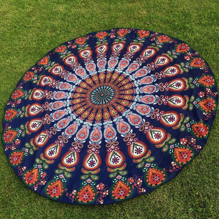 DHL OR SF-EXPRESS 50pcs Peacock Round Beach Blanket Floral Vintage Outdoor Summer Picnic Yoga Sports Beach Towel