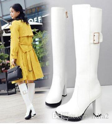 New Arrival Hot Sale Specials Super Fashion Influx Cotton Female White Princess Leather Buckle Personality Platform Heels Boots EU32-43