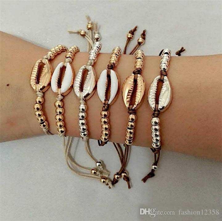 Neue Sommer Gold Silber Farbe Shell Bettelarmband für Frauen Leder Seil Kette Perlen Armbänder Böhmen Strand Schmuck Mix Farben