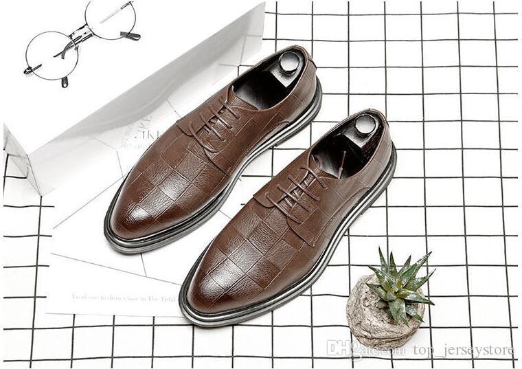 Moda 2019 zapatos de cuero para hombre de negocios Mostrar Oxfords Casual zapatos de vestir transpirable Vaca edición original Tamaño Negro Chirstmas 38-44