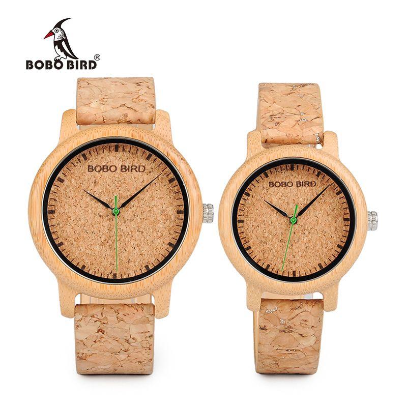 BOBO DE AVES Los amantes de relojes de madera hecho a mano relojes correa de bambú Cork reloj de las mujeres de lujo de la caja de Accept Logo envío de la gota LY191216