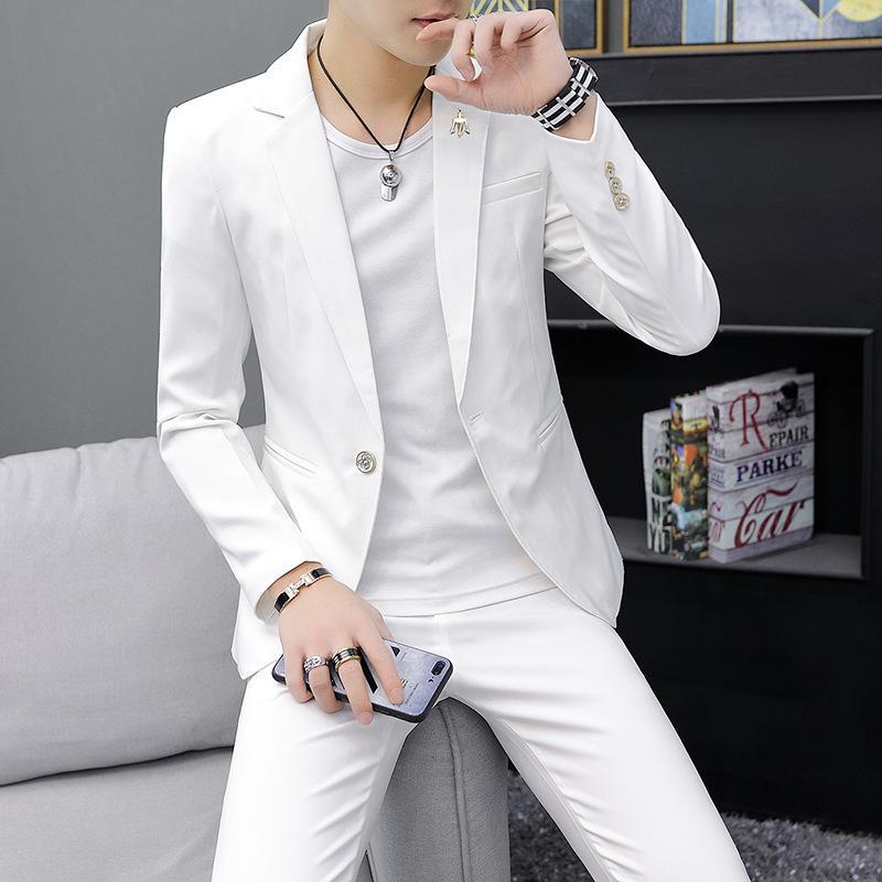 Um botão 2 peça branca Slim Fit Homens Terno Formal personalizado Suit simples do casamento do noivo Smoking Slim Fit Prom Men casamento com calças